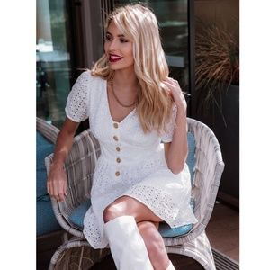 White Eyelet Mini Dress Button Front V-Neck
